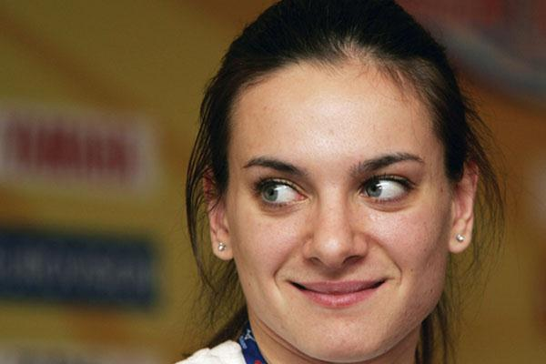 Yelena Isinbayeva at the pre-competition press conference in Moscow (Getty Images)