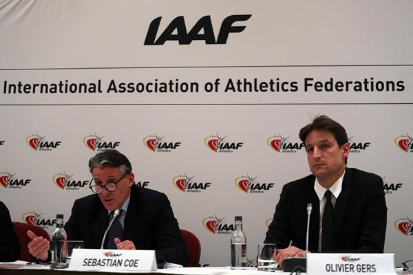 IAAF President Sebastian Coe and CEO Olivier Gers after the IAAF Council Meeting in London (Chris Lee)