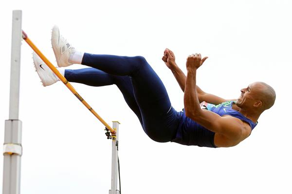 Damian Warner in the decathlon high jump at the Hypomeeting in Gotzis (Jean-Pierre Durand)