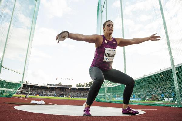 Sandra Perkovic at the 2014 IAAF Diamond League meeting in Stockholm (DECA Text & Bild)