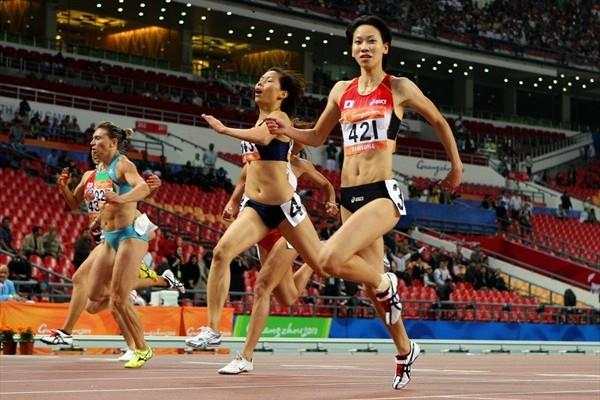 Chisato Fukushima of Japan takes the 200m in Guangzhou to complete an Asian Games double win (Getty Images)