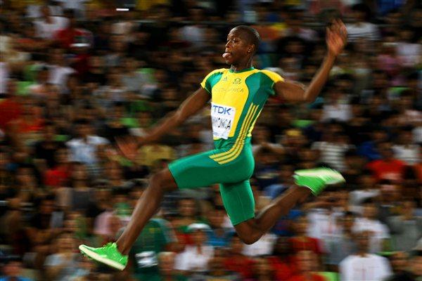 Luvo Manyonga of South Africa competes in the men's long jump final (Getty Images)