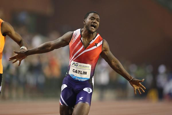 Justin Gatlin winning the 100m at the 2014 IAAF Diamond League final in Brussels ()