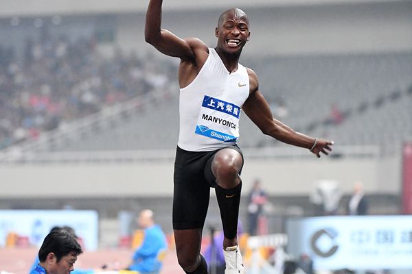 Long jump winner Luvo Manyonga at the IAAF Diamond League meeting in Shanghai (Errol Anderson)