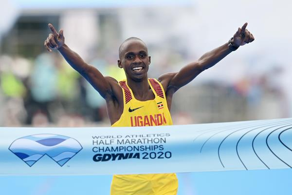 Jacob Kiplimo wins the World Athletics Half Marathon Championships Gdynia 2020 (Getty Images)