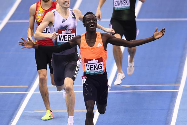 Joseph Deng wins the 800m at the World Indoor Tour meeting in Birmingham (Getty Images)