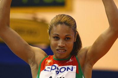 Naide Gomes celebrates her long jump victory, which she won with a world-leading national record of 7.00m (Getty Images)