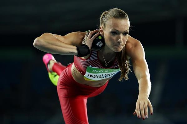 Laura Ikauniece-Admidina in the heptathlon shot put at the Rio 2016 Olympic Games (Getty Images)