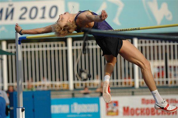 Olympic champion Andrey Silnov high jumping at 2010 Znamenskiy Memorial (LOC)