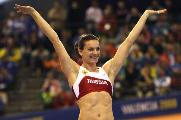 Yelena Isinbayeva celebrates at the IAAF World Indoor Championships in Valencia (Getty Images)