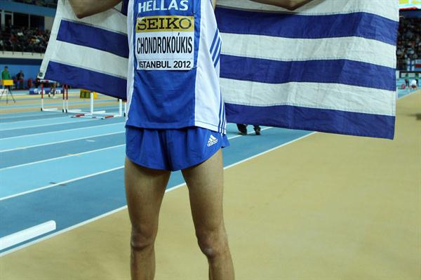 Dimitrios Chondrokoukis of Greece celebrates as he wins gold in the Men's High Jump Final during day three - WIC Istanbul (Getty Images)