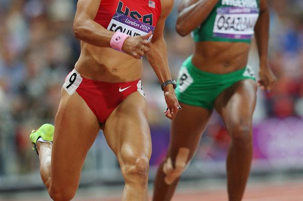 Hyleas Fountain of the United States competes in the Women's Heptathlon 200m on Day 7 of the London 2012 Olympic Games at Olympic Stadium on August 3, 2012 (Getty Images)