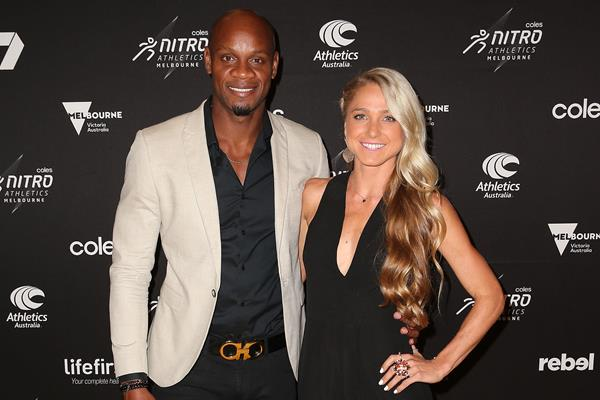 Asafa Powell and Genevieve LaCaze arrive at the Nitro Athletics Gala Dinner in Melbourne (Getty Images)
