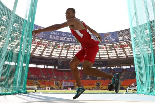 Ashton Eaton in the mens Decathlon Discus Throw at the IAAF World Athletics Championships Moscow 2013 (Getty Images)