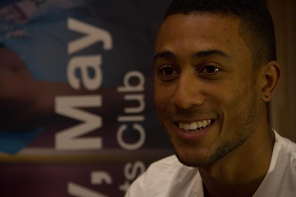 Andrew Osagie at the Doha 2014 IAAF Diamond League press points (Doha LOC)