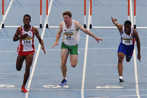 Yordan L. O'Farrill (L) of Cuba wins the Men's 110m Hurdles Final Nicholas Hough of Australia is second and French Wilhem Belocian third on the day three of the 14th IAAF World Junior Championships in Barcelona on 12 July 2012 (Getty Images)
