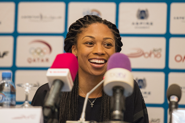 Allyson Felix at the press conference ahead of the IAAF Diamond League meeting in Doha (DECA Text & Bild)