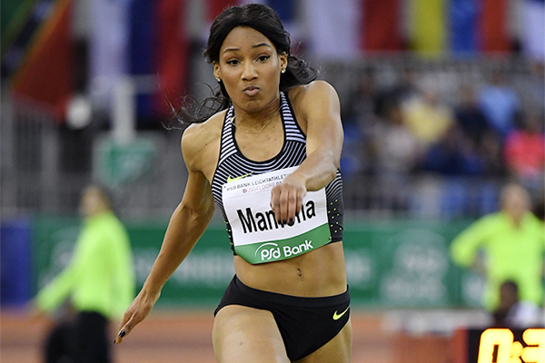 Patricia Mamona in the triple jump at the IAAF World Indoor Tour Meeting in Dusseldorf (Gladys Chai von der Laage)
