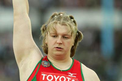 Nadezhsa Ostapchuk of Belarus wins the women's Shot Put (Getty Images)