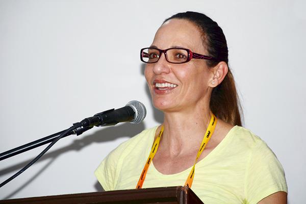 1992 Olympic 400m bronze medallist Ximena Restrepo speaks at the media development project in Cali (Nicolas Salazar)