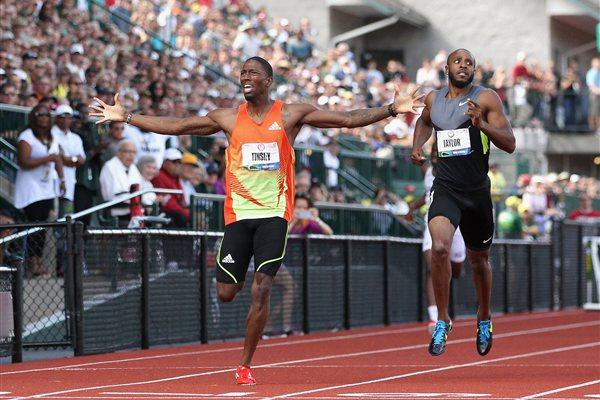 Michael Tinsley takes an upset victory at the U.S. Trials in Eugene (Getty Images)