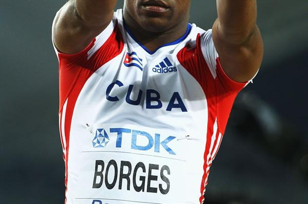 Lazaro Borges of Cuba celebrates during the men's pole vault final  (Getty Images)