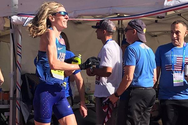 Camille Herron in action at the IAU 24 Hour World Championships in Albi (USA 24H Team)