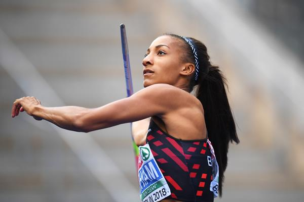 Nafissatou Thiam in the heptathlon javelin at the European Championships (Getty Images)