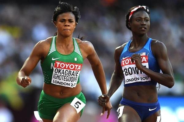 Blessing Okagbare and Tori Bowie in the 100m at the IAAF World Championships London 2017 (Getty Images)