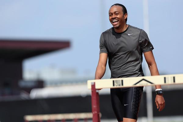 US sprint hurdler Aries Merritt during a training session in Texas (Getty Images)