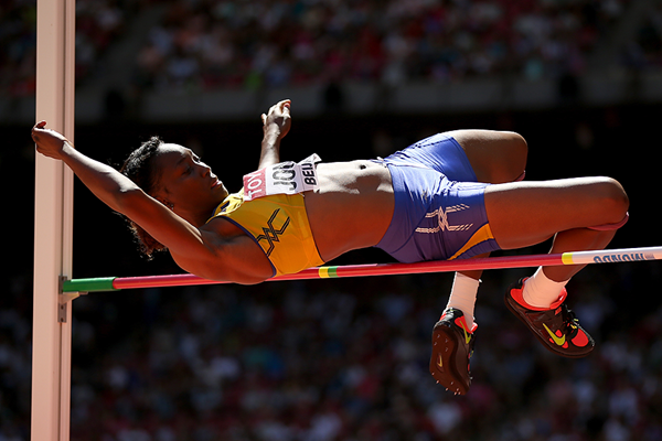 Akela Jones in the heptathlon high jump at the IAAF World Championships Beijing 2015 (Getty Images)