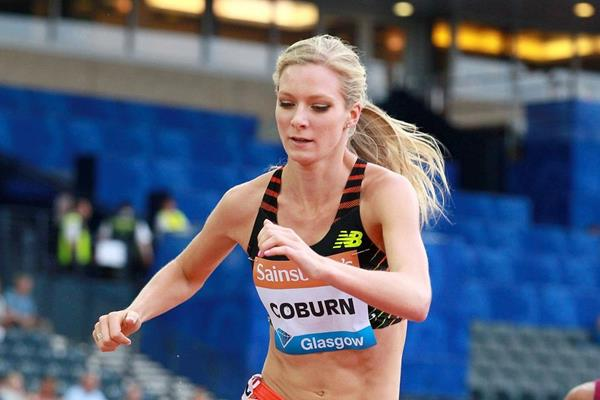 Emma Coburn in the 3000m steeplechase at the 2014 IAAF Diamond League meeting in Glasgow  (Victah Sailer)