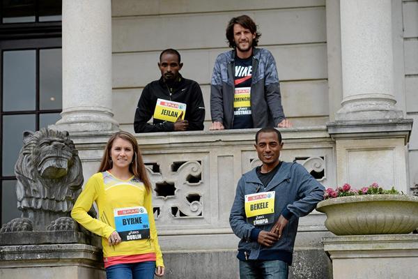 Linda Byrne, Ibrahim Jeilan, Collis Birmingham, Kenenisa Bekele ahead of the 2013 SPAR Great Ireland Run (Organisers)