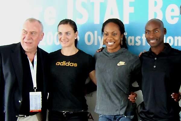 Gerhard Janetsky, Yelena Isinbayeva, Sanya Richards, Bernard Lagat - DKB-ISTAF Berlin press conference (Chris Turner)