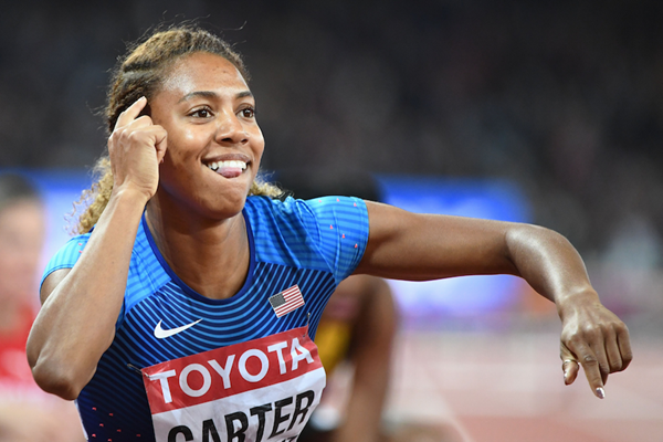 Kori Carter after winning the 400m hurdles at the IAAF World Championships London 2017 (Getty)