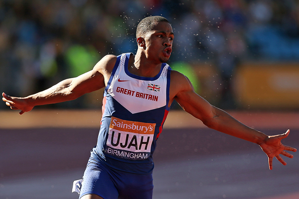 Chijindu Ujah wins the British 100m title in Birmingham (Getty Images)