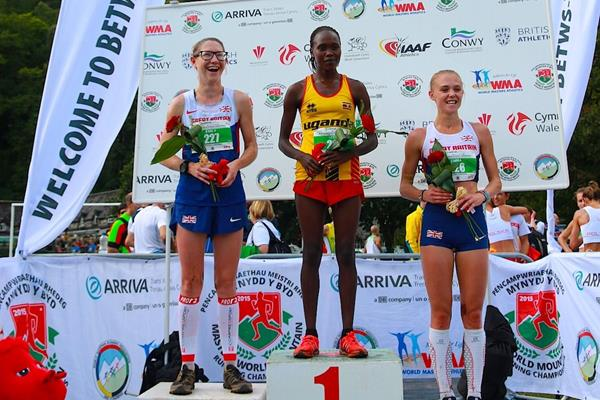 Emmie Collinge, Stella Chesang and Emma Clayton at the 2015 WMRA World Mountain Running Championships  (Organisers)
