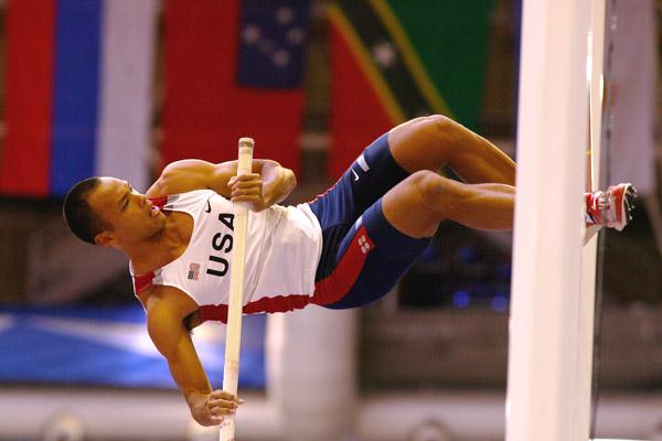 Bryan Clay negotiates the bar in the heptathlon pole vault (Getty Images)
