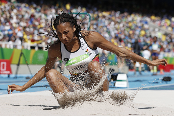 Nafissatou Thiam in the heptathlon long jumpat the Rio 2016 Olympic Games (AFP / Getty Images)