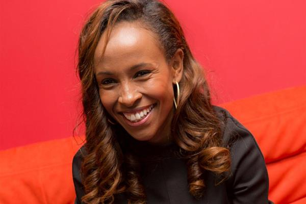 Meseret Defar talks to the press in Monaco (Philippe Fitte)