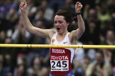 Yelena Slesarenko of Russia wins the women's High Jump final (Getty Images)