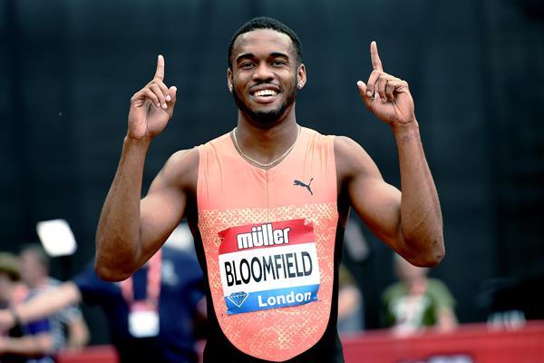 Akeem Bloomfield after his London 200m win (Mark Shearman)