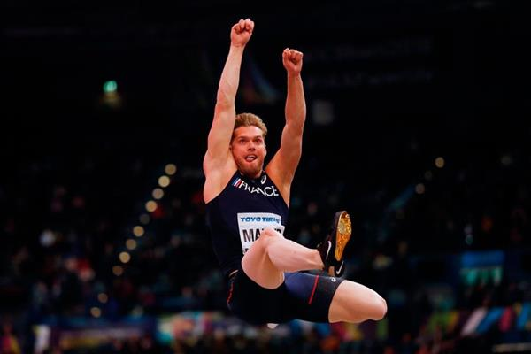 Kevin Mayer in the heptathlon long jump at the IAAF World Indoor Championships Birmingham 2018 (AFP / Getty Images)