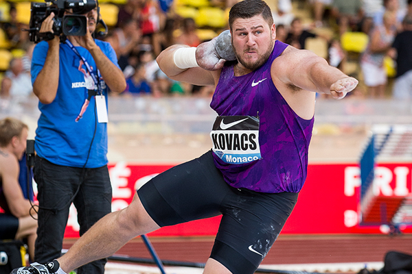 Joe Kovacs on his way to winning the shot at the IAAF Diamond League meeting in Monaco (Philippe Fitte)