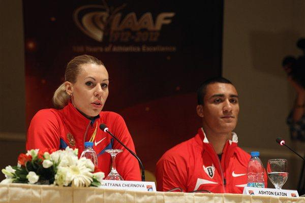 Tatyana Chernova and Ashton Eaton at the pre-champs press conference in Istanbul (Getty Images)