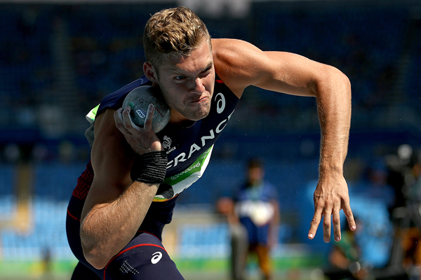 Kevin Mayer in the decathlon shot put at the Rio 2016 Olympic Games (Getty Images)