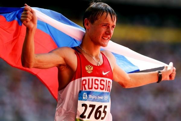 Valeriy Borchin celebrates his 20km walk victory (Getty Images)