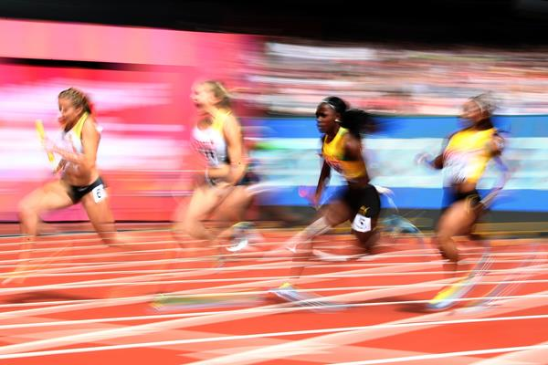 Germany and Jamaica in the women's 4x100m relay at the IAAF World Championships London 2017 (Getty Images)