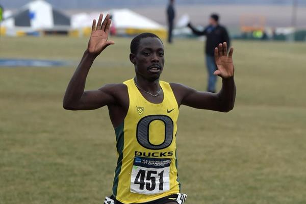 Edward Cheserek winning at the 2014 NCAA Cross Country Championships (Kirby Lee)
