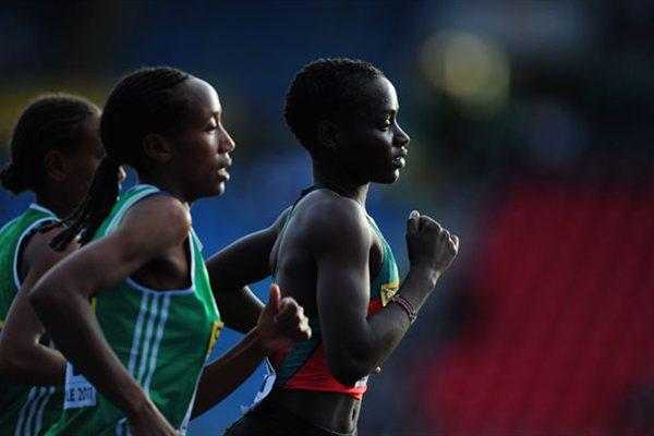 Bronze medal winner Caroline Chepkoech Kipkirui of Kenya (r) leads the field during the Girls 3000 metres final - WYC Lille 2011 (Getty Images)